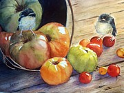 Baby Bird Painting Prints - Eat your veggies Print by Patricia Pushaw