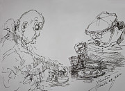 Dinner Drawings - Eaters by Ylli Haruni