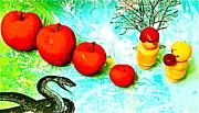 Eating Apples Print by Ricky Sencion