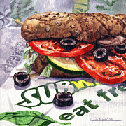 Sandwich Paintings - Eating Fresh by Lynette Cook
