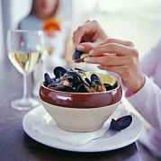 Moules Posters - Eating Mussels Poster by David Munns