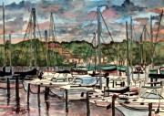 Sailboats Drawings - Eau Gallie Seascape painting by Derek Mccrea