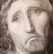 Crucifix Art Drawings Metal Prints - Ecce Homo Metal Print by Roland Pangrati