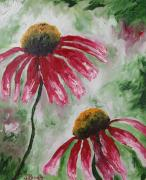 Wildflowers Mixed Media Posters - Echinacea Poster by Janel Bragg