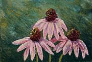 Pastel  Drawings Paintings - Echinea Trio by Nancy Goldman