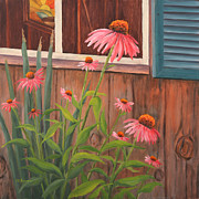 Shed Painting Prints - Echinecea Flower Print by Elaine Farmer