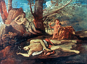 Poussin Posters - Echo And Narcissus Poster by Granger