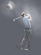 Golf Drawings Posters - Eclipse Poster by Miki De Goodaboom