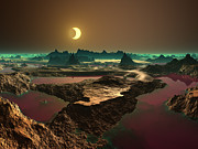 Horizontal Abstract Landscape Prints - Eclipse Over Alien Landscape Print by Albert Klein