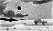Eclipse Drawings - Eclipsed Highway by Nils Beasley