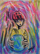 Helmet  Pastels Prints - Eco Friend Print by Robert M Sassi