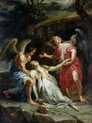 Angel Paintings - Ecstasy of Mary Magdalene by Peter Paul Rubens