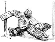 Glove Drawings Metal Prints - Ed Belfour Metal Print by Steve Benton