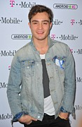 Pocket Square Prints - Ed Westwick At Arrivals For T-mobile Print by Everett