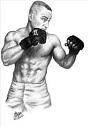 Athletes Drawings Framed Prints - Eddie Alvarez - Bellator Champion Framed Print by Audrey Snead