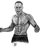 Athletes Drawings Framed Prints - Eddie Alvarez - MMA Framed Print by Audrey Snead