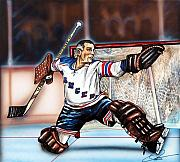 Hockey Drawings Framed Prints - Eddie Giacomin Framed Print by Dave Olsen