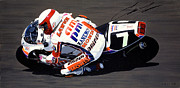 Eddie Lawson Autographed Paintings - Eddie Lawson - Suzuka 8 Hours by Jeff Taylor
