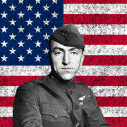 Fighter Digital Art Prints - Eddie Rickenbacker and The American Flag Print by War Is Hell Store