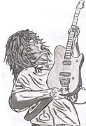 Van Halen Drawings - Eddie V by Mike Naze