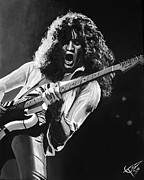 Van Halen Acrylic Prints - Eddie Van Halen - Black and White Acrylic Print by Tom Carlton