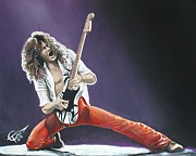 Van Halen Metal Prints - Eddie Van Halen Metal Print by Tom Carlton