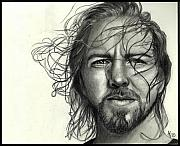 Pearl Jam Drawings - Eddie Vedder by Alycia Ryan