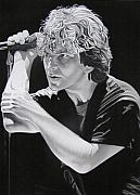 Famous Drawings Posters - Eddie Vedder Black and White Poster by Joshua Morton