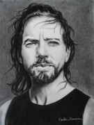 Singer Drawings - Eddie Vedder of Pearl Jam Nothings as it seems by Carla Carson