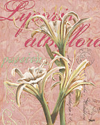 Garden Flowers Paintings - Eden Blush Lilies 1 by Debbie DeWitt