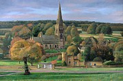 Man On Bench Prints - Edensor - Chatsworth Park - Derbyshire Print by Trevor Neal
