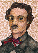 Haunted Drawings Posters - Edgar Allan Poe after the Thompson daguerreotype Poster by Nancy Mitchell