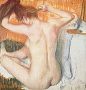 Dancer Paintings - EDGAR DEGAS La Toilette or Woman Combing Her Hair 1884 by Pg Reproductions