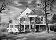 White Frame House Mixed Media Prints - Edgar Home BW Print by Kip DeVore