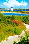Nautical Digital Art - Edgartown Light by Michael Petrizzo