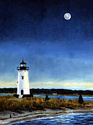 Cape Cod Lighthouse Paintings - Edgartown Light Morning by Paul Gardner