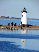 Edgartown Lighthouse Framed Prints - Edgartown light Framed Print by Paul McCarthy