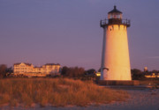 Marthas Vineyard Framed Prints - Edgartown Lighthouse and Mansion Framed Print by John Burk