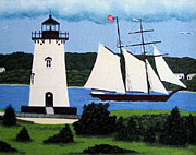 North American Lighthouses - Paintings By Frederic Kohli - Edgartown Lighthouse Painting by Frederic Kohli