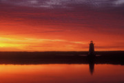Marthas Vineyard Framed Prints - Edgartown Lighthouse Red Skies Framed Print by John Burk