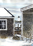 New England Lighthouse Paintings - Edgartown Winter by Paul Gardner