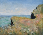 Impressionism Glass Framed Prints - Edge of the Cliff Pourville Framed Print by Claude Monet
