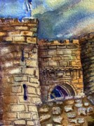 Art Card Drawings Framed Prints - Edinburgh Castle Framed Print by Mindy Newman
