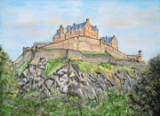 Historical Buildings Paintings - Edinburgh Castle by Yvonne Johnstone