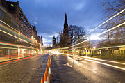 Street Photography Digital Art - Edinburgh Princess Street Night Trails by Donald Davis