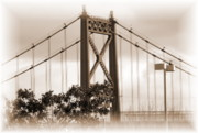 Business-travel Mixed Media Prints - Edison Bridge Sepia Print by Jackie Bodnar