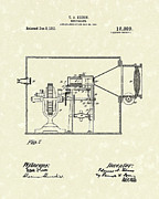 Antique Drawings - Edison Kinetoscope 1911 II Patent Art  by Prior Art Design