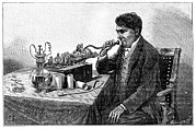 Thomas Edison Prints - Edison Talking Into His Phonograph Print by