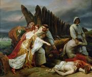 Emile Painting Posters - Edith Finding the Body of Harold Poster by Emile Jean Horace Vernet