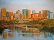 City Buildings Painting Posters - Edmonton Reflections Poster by Mohamed Hirji